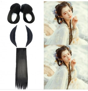 Ancient chinese dynasty drama for women girls fairy hanfu photos studio dancing stage performance cosplay hair wig hair accessories